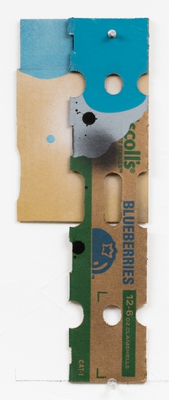 "George Negroponte's Blueberries (Tape, enamel, acrylic and spray paint on cardboard, 15 1/2"" x 5 3/4) at Anita Rogers Gallery"