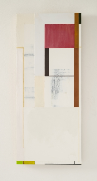 "Joan Waltemath's black and red is gold (East 3  1,2,3,5,8...). 2013-16. Oil, graphite, bronze, interference, and florescent pigment on honeycomb aluminum panel. 33 7/8"" x 14 9/16"""