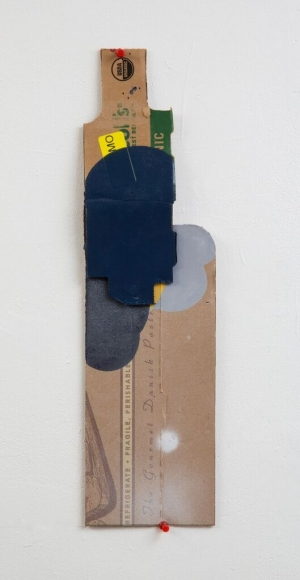 "George Negroponte's Handle With Care (For V.H.). (2016. Enamel & latex on cardboard. 18 ¾"" x 5"") at Anita Rogers Gallery"