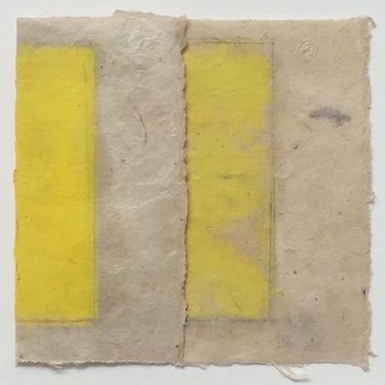 "Kazimira Rachfal's  'squaring the circle', series I, #3 (Oil on paper. 4"" x 4"") at Anita Rogers Gallery"