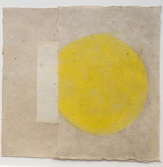 "Kazimira Rachfal's  'squaring the circle', series I, #1 (Oil on paper. 5 1/2"" x 6"") at Anita Rogers Gallery"