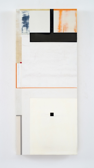 "Joan Waltemath's what happens (West 1  1,2,3,5,8...). Oil, graphite, bronze, lead, phosphorescent and florescent pigment on honeycomb aluminum panel. 37 "" x 15 9/16"""