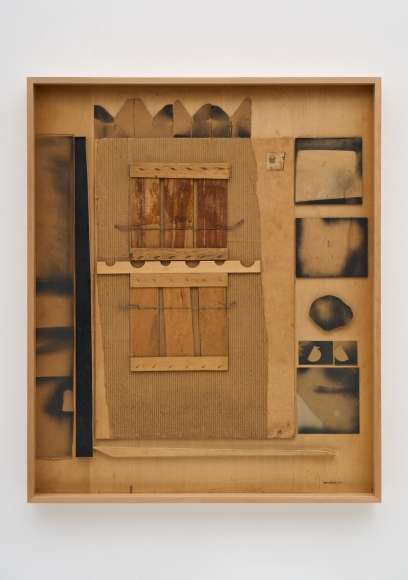 Untitled, 1957 Cardboard, laminate, paint, paper, wire and wood collage on board
