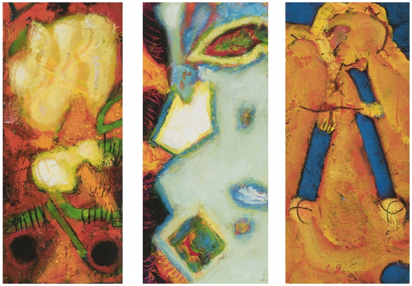 William Scharf, A Pending Sorrow, Totem and the Ice Shoal, A Wile After Goya, (From left to right), 2000, 2001, 2002-7 (From left to right)