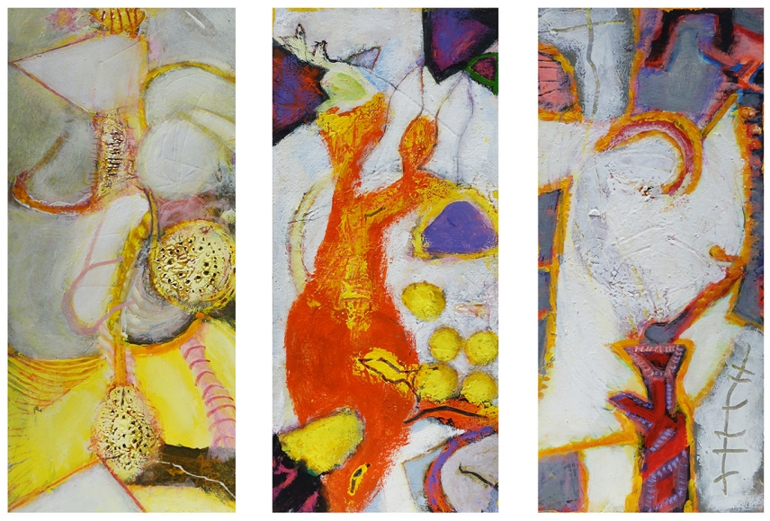 William Scharf, The Night Mare's Acrobat, 5 Loaves + 2 Fish = 7, Quaternity in White (From left to right), 2000, 2002, 2000 (From left to right)