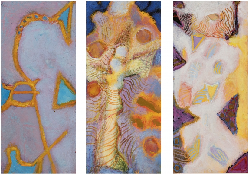 William Scharf, In a Cloy of Sky, Angel of Tongues, Sun Edge Shower (From left to right), 2000, 2001, 2002 (From left to right)