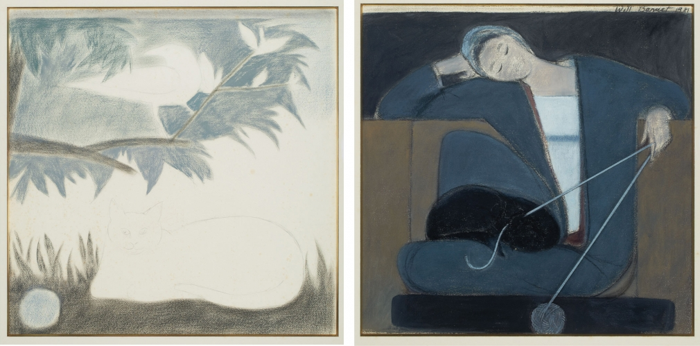 Will Barnet - Two-sided: Study for Woman Cat and Yarn/Untitled (recto), Study with Cat, Bird and Ball (verso), 1981