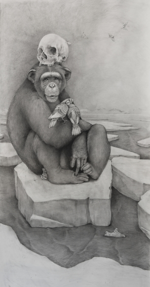 Adonna Khare, Chimp with Skull, 2016