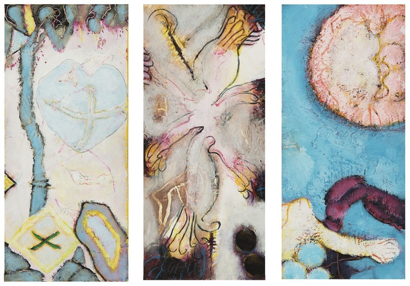 William Scharf (b. 1927) To Bonnard, The Painter's Terrace, Flowering Phoenix, Hour Rite (From left to right), 2004, 2004, 2001 (From left to right)
