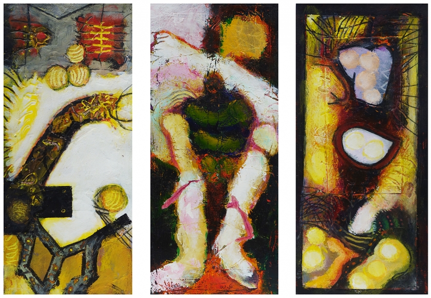 William Scharf, An Accidental Liking, The Sold Soldier, In the Enmity Tree (From left to right), 2002, 2002, 2000 (From left to right)