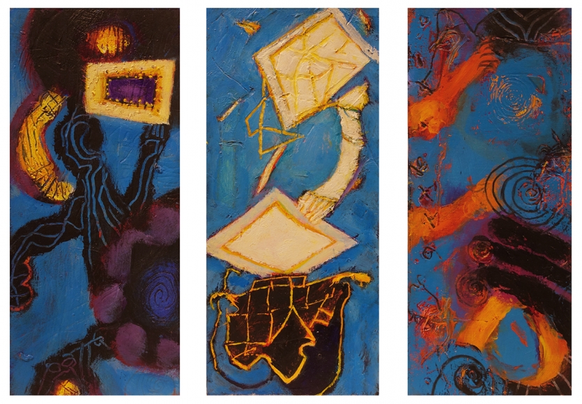 William Scharf, Admiration of the Frame, In Folded Guilt, The Relics Remember (From left to right), 2006-7, 2003-7, 2002 (From left to right)
