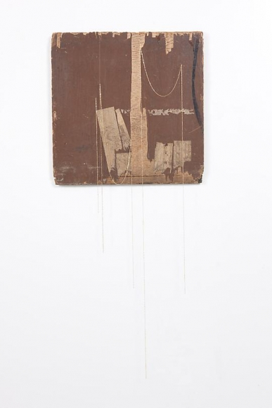 Untitled (Brown Panel with Gold Chains), 2012