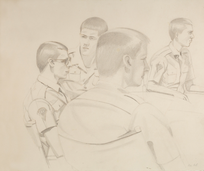 alex katz soldiers 1981 pencil on paper richard gray