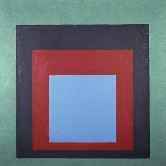 """Josef Albers Homage to the Square: """"Frontward"""" Oil on masonite"""