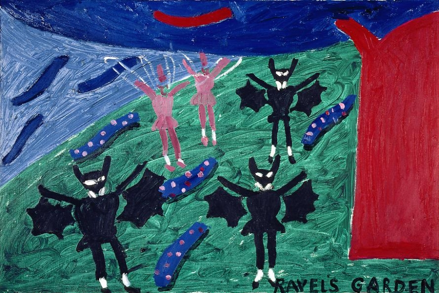 """Three Bats and Two Dragonflies in the Garden from """"L'Enfant et les Sortileges"""", 1980"""