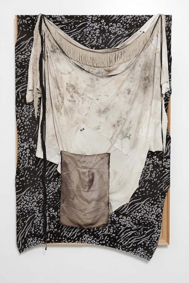 Untitled (Black and Silver Fabric Painting), 2012
