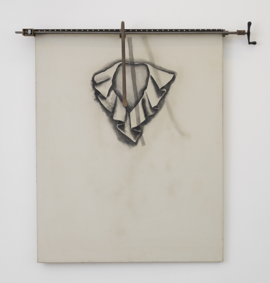 Total Modness (The Big Floppy Collar by Gerald McCann), 1965, Charcoal and objects on canvas