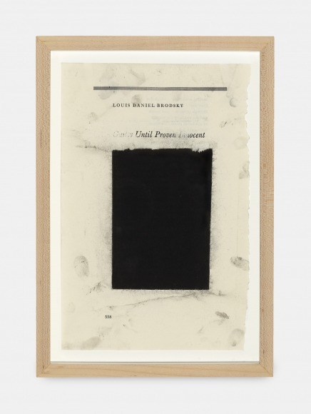 Untitled (Guilty Until Proven Innocent), 2016, Charcoal on found paper