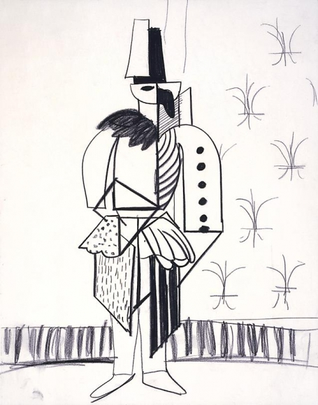 """Cubist Stage Manager with Curtains from """"Parade Triple Bill"""", 1980"""