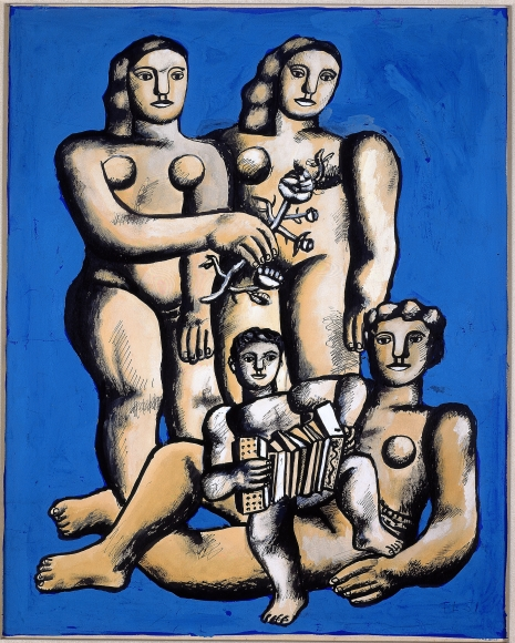 "Fernand Léger Étude pour ""Les trois soeurs"" Gouache, watercolor, pen brush and India ink on paper mounted at the edges on board"