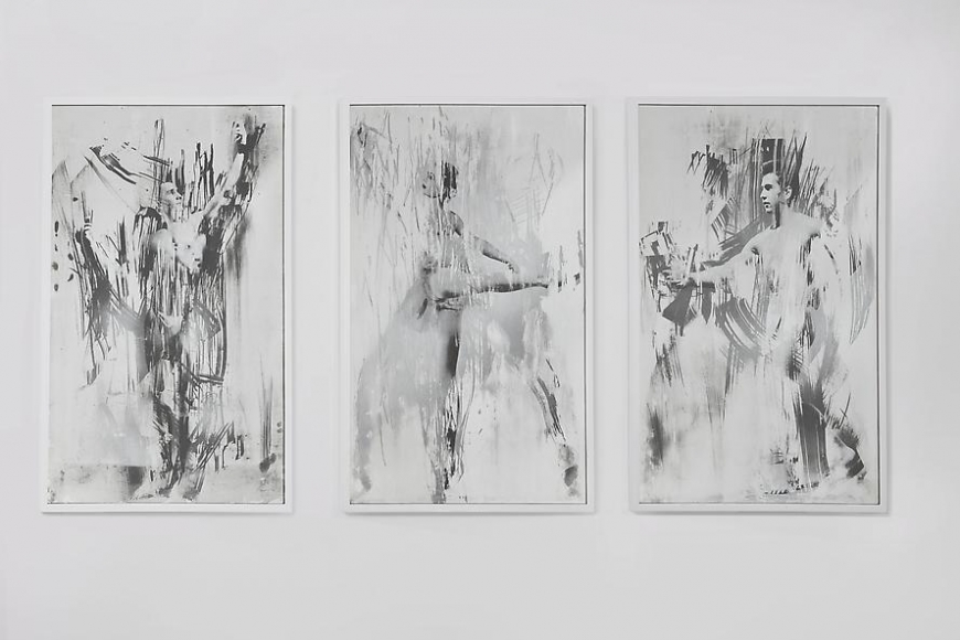 Untitled (Ballerina and Posing Men Triptych), 2012