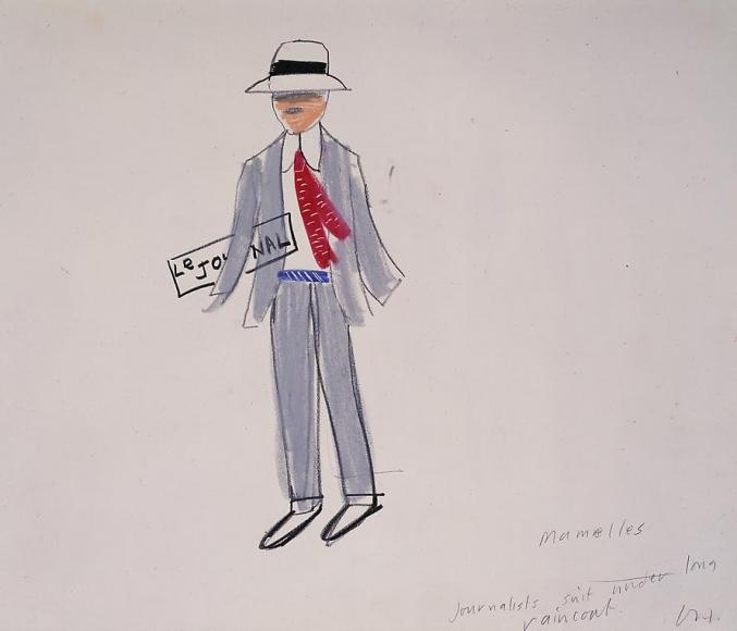 """Journalist's Suit Under Long Raincoat from """"Les Mamelles de Tiresias"""", 1980"""