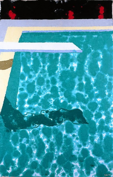 David Hockney Green Pool with Diving Board & Shadow (Paper Pool #3, version K), 1978