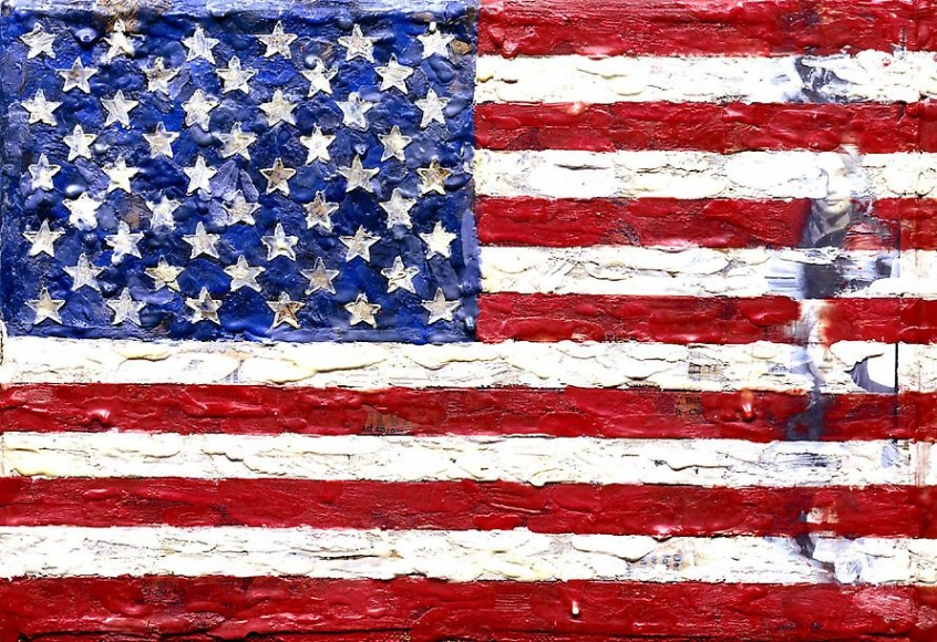 Flag, 1965 Encaustic and collage on canvas