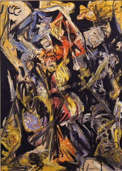 Jackson Pollock Composition with Red Triangles, 1945