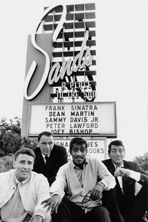 Frank Sinatra, Dean Martin, Sammy Davis Jr., and Peter Lawford at the Sands Hotel, Las Vegas, 1960