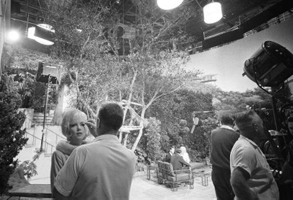 """Marilyn with Makeup Artist Whitey Snyder on the Set of """"Something's Got to Give"""", 1962"""