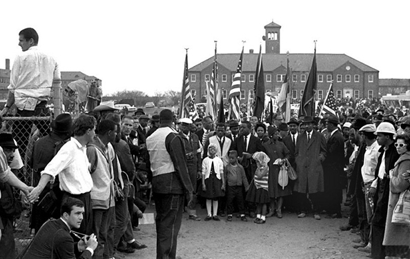 Front line of marchers, Selma to Montgomery, Alabama Civil Rights March, March 24-26, 1965