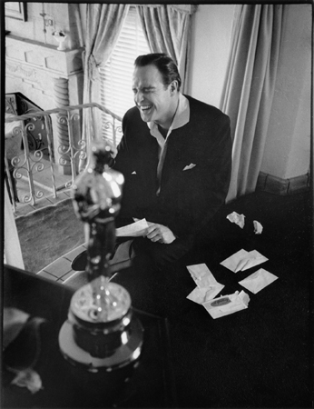 "Marlon Brando at Home After Winning an Oscar for ""On the Waterfront"", 1955"