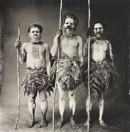 Three New Guinea Men Painted White, New Guinea, 1970