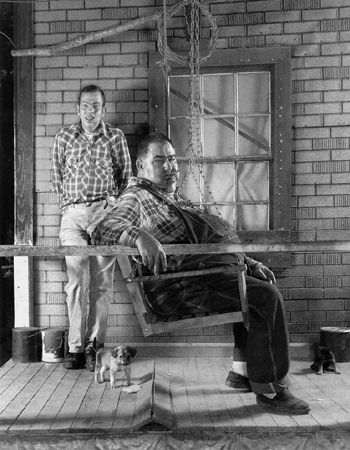 Brice and Crow on Porch, Buck Lick, 1992