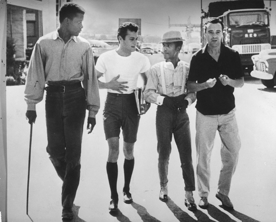 Sidney Poitier, Tony Curtis, Sammy Davis, Jr., and Jack Lemmon on Lot
