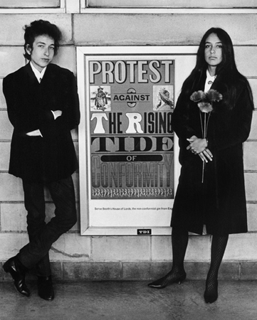 Bob Dylan and Joan Baez with Protest Sign, Newark Airport, NJ, 1964