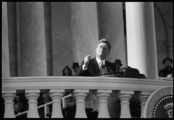 John F. Kennedy Inauguration, JFK Giving Speech, January, 1961