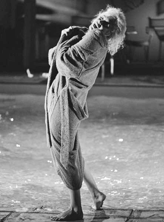 """Marilyn Monroe (clutching robe), """"Something's Got to Give"""", May 23, 1962"""