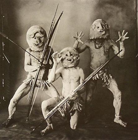 Three Asaro Mudmen (B), New Guinea, 1970