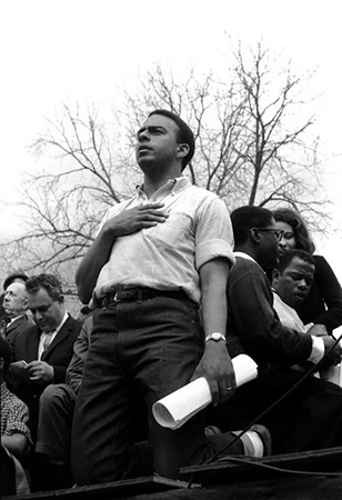 Andrew Young with hand over heart, after singing the National Anthem; Bernard King, and on right John Lewis, Selma to Montgomery, Alabama Civil Rights March; March 25, 1965