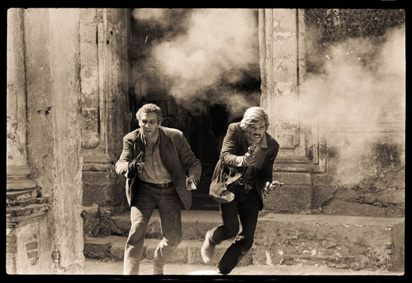 """Paul Newman and Robert Redford (gunfight close-up), """"Butch Cassidy and the Sundance Kid"""", 1968"""