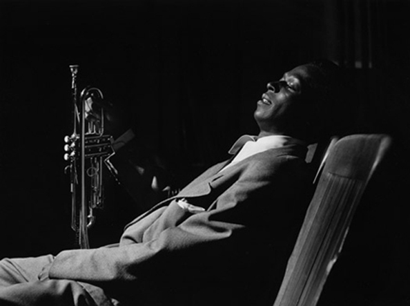 "Miles Davis backstage after a ""Just Jazz"" concert, Shrine Auditorium, Los Angeles, California, 1950"