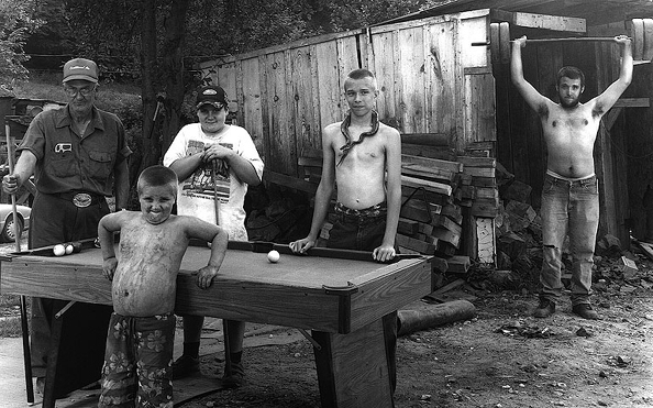 Lloyd Deane with Grandsons at Pool Table, 2002