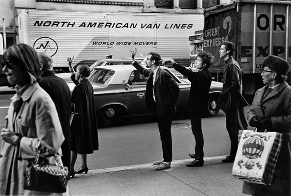 Bob Dylan with Peter Yarrow & John Hammond Jr. Hailing Cab, NYC, 1965