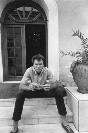 Clint Eastwood (sitting on stairs), Durango, Mexico, 1969