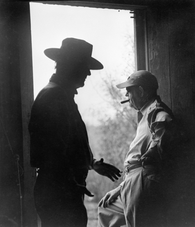 "John Ford and John Wayne, ""The Alamo,"" (in Doorway), 1952"