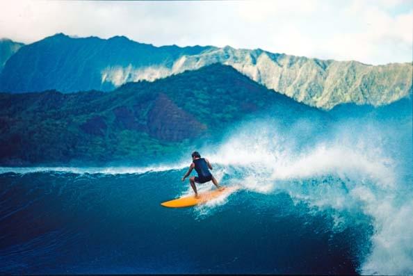 Surfing, Hanalei Bay, Kauai, 1976