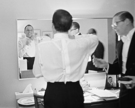 Frank Sinatra and Milton Berle Backstage Preparing for the JFK Inaugural Gala, 1961