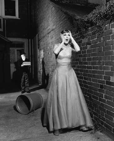 Untitled (model screaming in alley), 1995